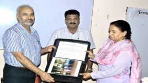 JU VC Prof R D Sharma presenting certificate during valedictory function of training programme on Friday.