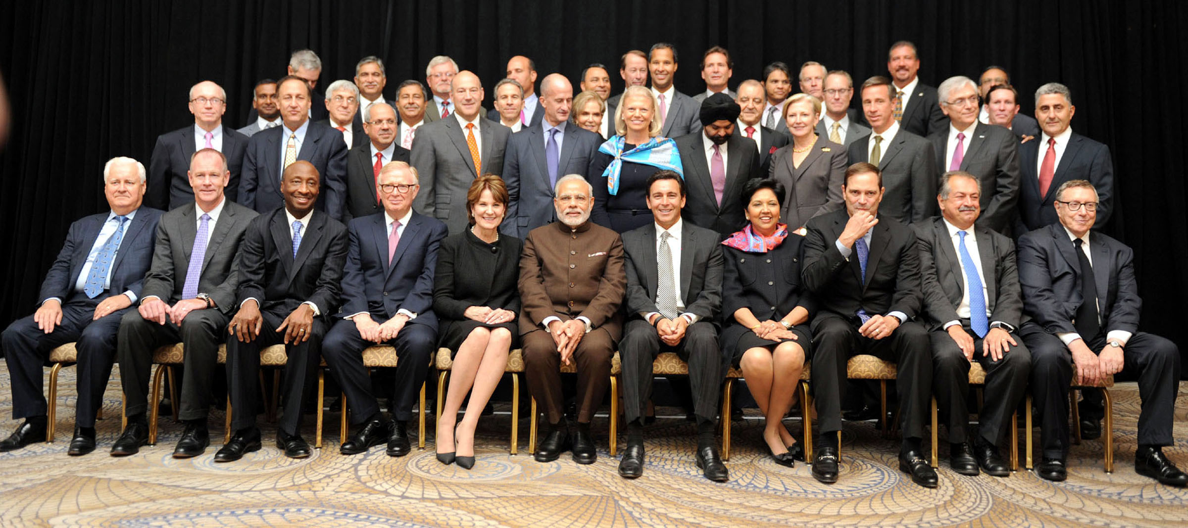 Prime Minister Narendra Modi in a group photograph with the leading Fortune 500 CEOs, at a special event, in New York on Thursday. (UNI)
