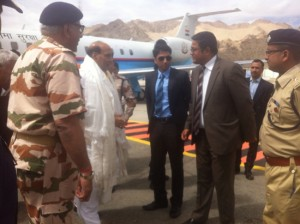Union Home Minister Rajnath Singh at Leh before leaving for Nyoma.