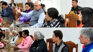 Governor N N Vohra interacting with artists after inaugurating National Art Camp.