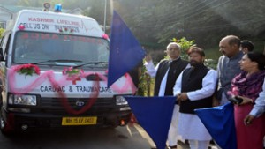 Chief Minister, Mufti Mohd Sayeed along with Health and Law Ministers during launch of Cardiac-and-trauma care ambulances at Srinagar on Monday.