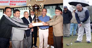 Minister for Education, Naeem Akhtar presenting trophy to a winner (L), veteran golfer aiming at target during Chief Minister's Golf Tournament in Srinagar on Sunday.