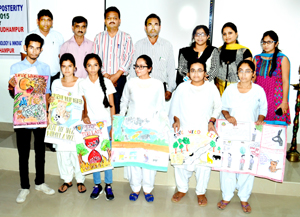 Winners of Poster Making Competition posing alongwith College