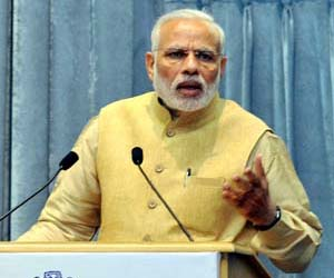 Prime Minister Narendra Modi addressing the Interactive Session of Assistant Secretaries (IAS Officers of 2013 Batch), in New Delhi on Thursday. (UNI)