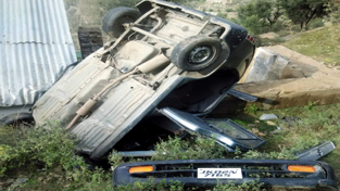 Ill fated vehicle after accident near Khellani in Doda.