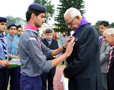 Governor N N Vohra during Annual Flag off function of J&K Scouts and Guides in Jammu on Friday.