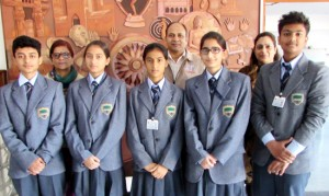 Students of Heritage School posing for a group photograph after claiming 3rd spot in Science Exhibition at Delhi.