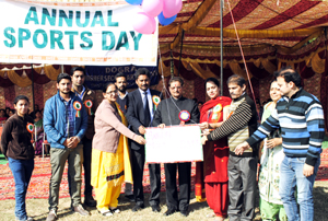 Dignitaries releasing baloons during Annual Sports Meet on Tuesday.