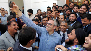Selfie Moment: Omar Abdullah with National Conference Youth Workers.