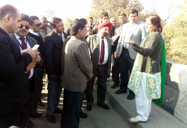 Visiting Central team being apprised by DC Samba, Sheetal Nanda, about the proposed site for AIIMS on Monday. — Excelsior/Goutam