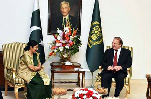 External Affairs Minister Sushma Swaraj in a meeting with Pakistan Prime Minister Nawaz Sharif in Islamabad on Wednesday.