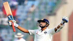 Ajinkya Rahane celebrating century during 4th Test Match against SA at New Delhi.