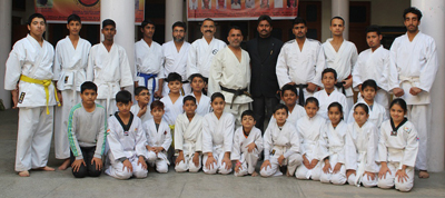 Karatekas posing for a group photograph during concluding function of 2-day National AIKIDO Goju Ryu Seminar.