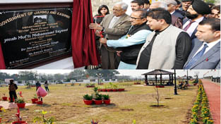 Chief Minister Mufti Mohd Sayeed inaugurating River Tawi Front Park on Sunday.