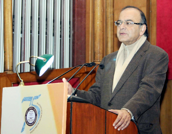 Union Minister for Finance, Corporate Affairs and Information & Broadcasting, Arun Jaitley delivering the valedictory address at the Platinum Jubilee Celebrations of Income Tax Appellate Tribunal, in New Delhi on Monday.