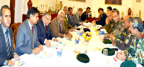 Governor N N Vohra holding security review in Jammu on Friday.