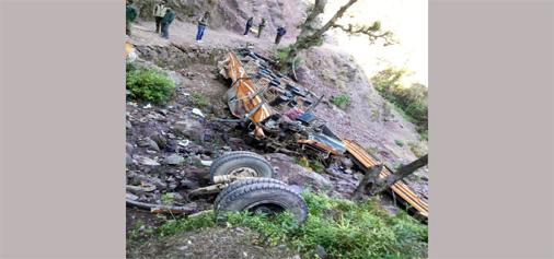 Wreckage of bus lying on the spot at Keya near Ramnagar on Friday. -Excelsior/ K Kumar
