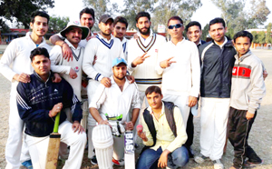 Winners Singh CC Akhnoor posing for a group photograph after entering semifinals on Wednesday.