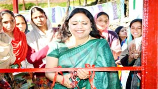 Rajni Rawat, Chairperson, PWO inaugurating the vocational training course for women at Dharmund on Thursday.