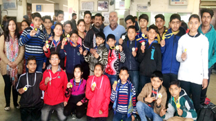 Medal winners of 5th North India Speedball Championship posing for a group photograph.