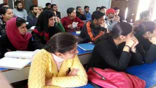 IAS aspirants attending the CSAT workshop at SR College of Competitions, Jammu on Monday.