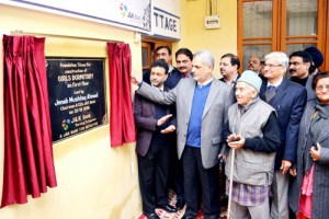 JKB Chairman lays foundation stone of  dormitory at 'Balgran'