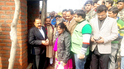 Union Minister Dr Jitendra Singh on a visit to the site of construction of Sulabh Shauchalaya toilets along International Border in district Kathua on Sunday. -Excelsior/Gautam