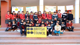 Students of GD Goenka Public School posing for a group photograph during Exhibition cum Activity on Saturday.