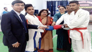 Chief guest inaugurating bout during North India Open Karate/Kick Boxing C'ship.