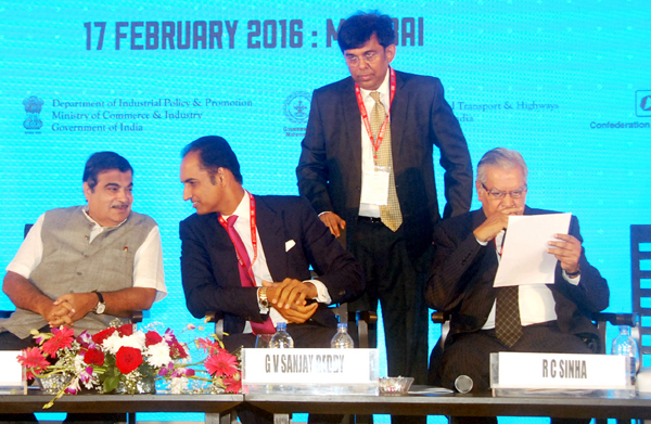 "Union Minister for Road Transport & Highways and Shipping, Nitin Gadkari at the Seminar on ""Reviving & Strengthening the Road Sector"", during the Make in India Week function, in Mumbai on Wednesday."