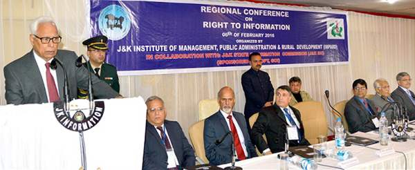 Governor N N Vohra addressing Regional Conference on RTI at Jammu on Saturday. -Excelsior/Rakesh