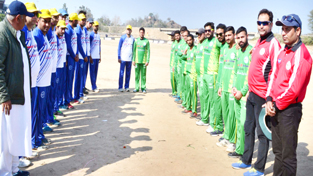 Teams posing for a group photograph alongwith officials at Bajalta on Monday.