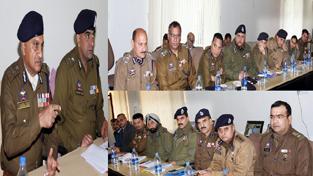 DGP K Rajendra Kumar addressing police officers of Jammu zone at PHQ on Saturday.