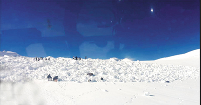 A view of rescue operation at Siachen Glacier on Thursday.