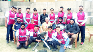 Jammu University Softball team posing for a group photograph before leaving to participate in Inter-University Softball Championship.