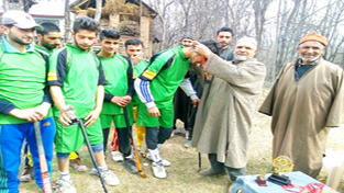 Hockey players being felicitated at Shopian on Wednesday.