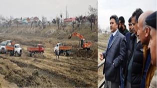 Advisor to Governor, Khurshid Ahmed Ganai taking stock of Jhelum dredging work on Wednesday.