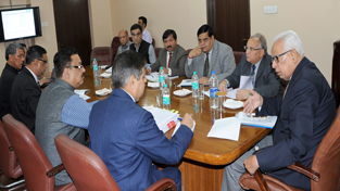 Governor, N N Vohra chairing a meeting at Jammu on Saturday.