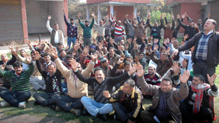 CP workers of PHE staging protest in Jammu on Monday.     -Excelsior/Rakesh
