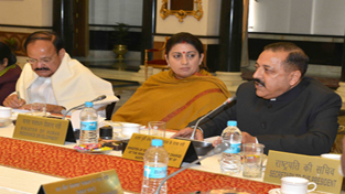 """Union Minister Dr Jitendra Singh making his presentation on """"Act East Policy and Development of North Eastern Region"""" at the All India Governor's Conference at Rashtrapati Bhawan, New Delhi on Wednesday."""