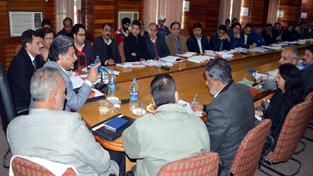 Advisor to Governor, Khurshid Ahmed Ganai chairing a meeting on Saturday.