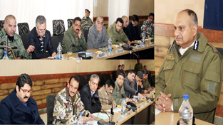 DGP K Rajendra chairing a meeting at Srinagar on Monday.