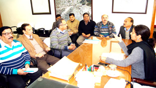 A deputation of AJHLA during a meeting with JMC Commissioner, Mandeep Kour at Jammu on Saturday.