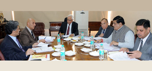 Governor N N Vohra chairing the SAC meeting in Jammu on Monday.