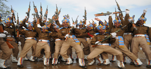 CRPF recruits celebrate after passing out parade in Humhama, Budgam on Saturday.