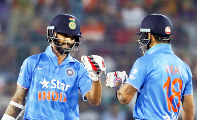 Shikhar Dhawan and Virat Kohli's partnership set India's chase up nicely.