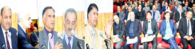 Judges of J&K High Court addressing one-day conference at Srinagar on Sunday.