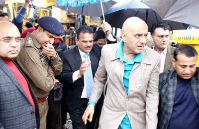 Advisor to Governor, Parvez Dewan during inspection of development projects at Jammu on Sunday.