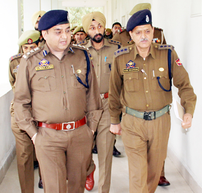 SSP Railways Rajinder Kumar Gupta during security review at Jammu Railway Station.
