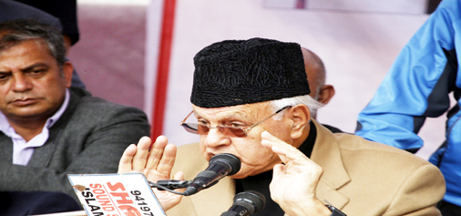 NC president Dr Farooq Abdullah addressing party workers in Anantnag on Thursday.— Excelsior/Sajad Dar